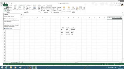 add themes to excel 2013 apply themes to worksheet in excel 2013 youtube
