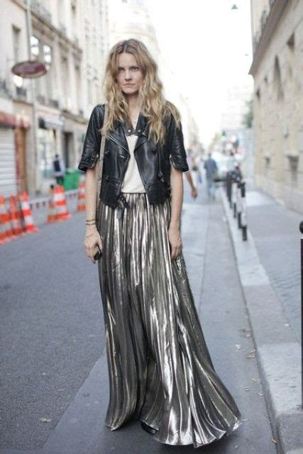 picture of maxi metallic skirt and leather jacket combination