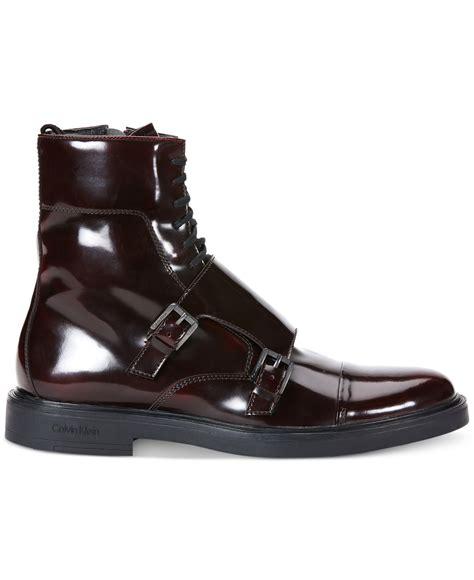 klein boots calvin klein davis box boots in purple for lyst