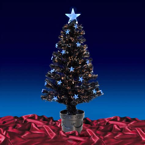 3ft christmas tree with lights black fibre optic artificial indoor christmas tree blue