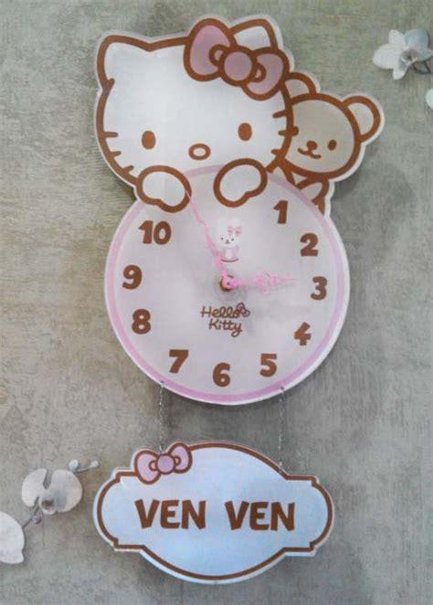 Jam Dinding Hello Import Cantik 2 jual jam dinding hello cantik imut bisa tulis nama anak hiasan kamar momoca