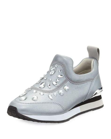 burch slip on sneaker burch laney embellished slip on sneaker in metallic