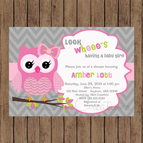 printable owl themed baby shower invitations owl chevron pink baby shower invitation pink grey owl