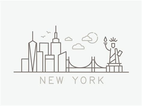 icon design nyc nyc skyline line icons for zagat by danny balgley dribbble