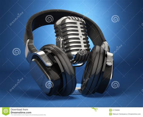 Microphone Mini Earphone 2in1 Karaoke Headset Sing vintage microphone and headphones on blue background concept au stock illustration image