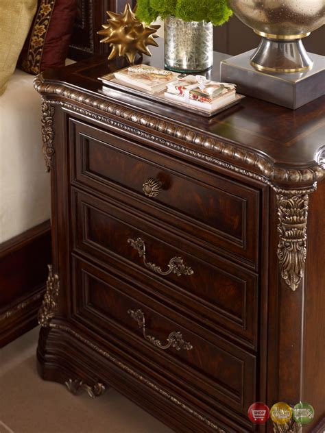 Cherry Nightstand With Drawers Gables 3 Drawer Ornate Cherry Nightstand With Crotch Okume Veneer