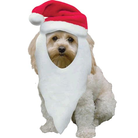 christmas santa hat with beard for dogs training lines