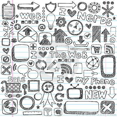 doodle on pc sketchy doodle web icon computer design elements stock