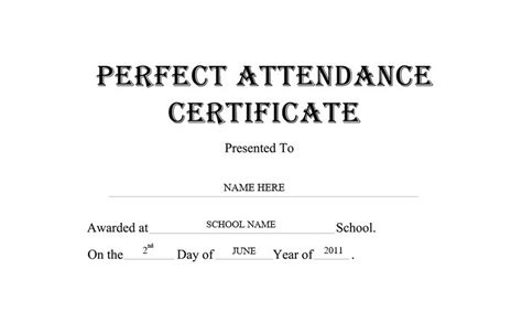 free templates for perfect attendance awards perfect attendance certificate free word templates clipart