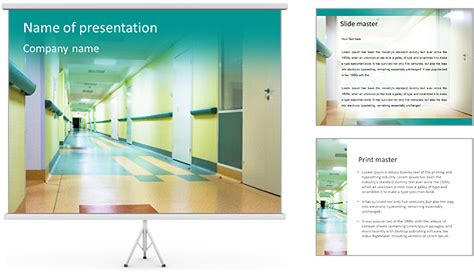 corridor in hospital powerpoint template backgrounds id