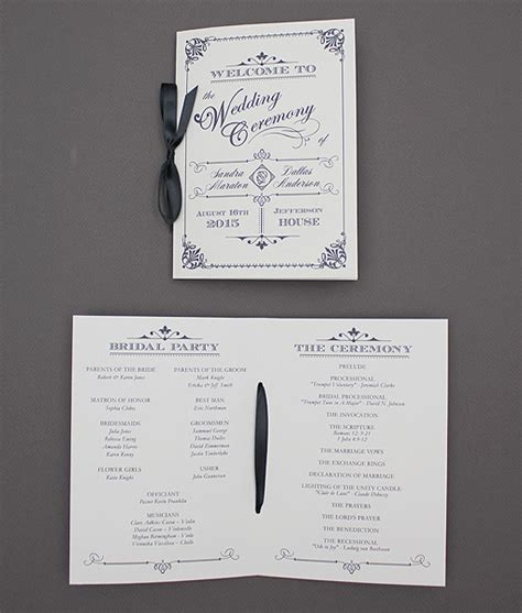 program booklet template ornate vintage type wedding program booklet print