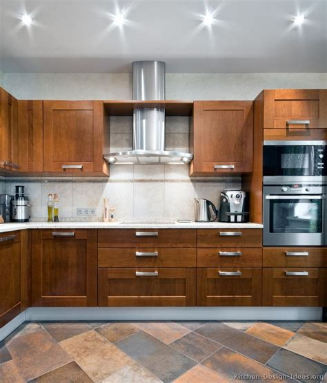 Contemporary Wood Kitchen Cabinets | pictures of kitchens modern medium wood kitchen