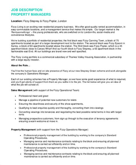 Apartment Porter Sle Resume by Property Manager Resume Duties 28 Images Sle Property Management Resume 8 Exles In Word Pdf