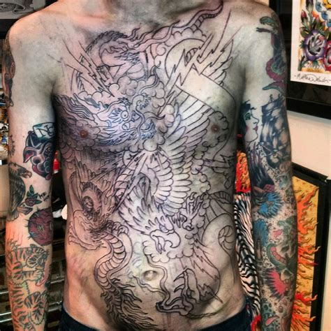 full stomach tattoos for men chest images designs