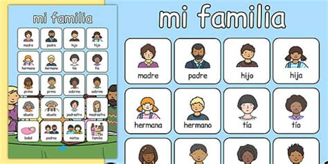 mi themes english mi familia vocabulary poster spanish spanish my family