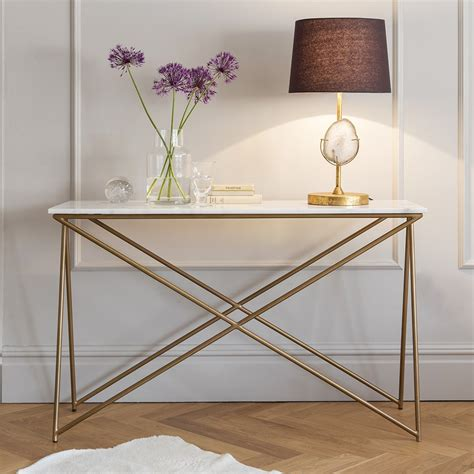metal top console table stellar white marble console table