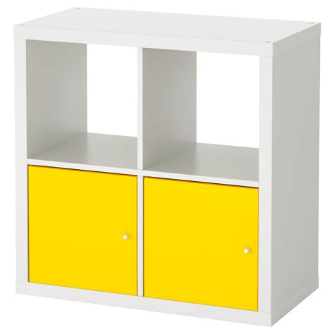 kallax shelving unit with doors white yellow 77x77 cm ikea
