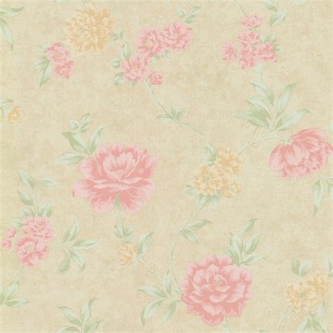 Green Kitchen Storeis - dream manor floral wallpaper pastels beige pink green transitional wallpaper by