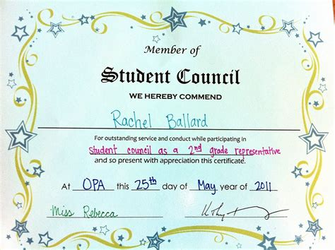 student council certificates printable just b cause