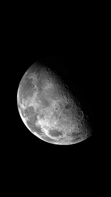 Gray half moon, space, vertical, portrait display, Moon HD