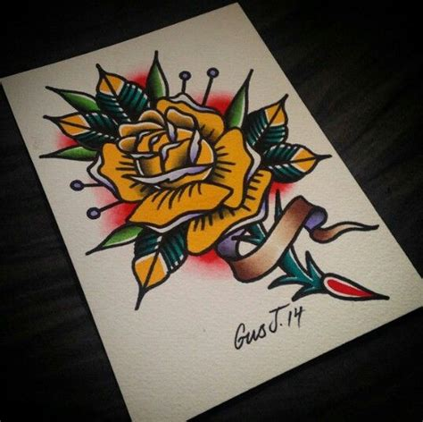 old school yellow rose tattoo gusj714 on instagram traditional tattoo yellow rose