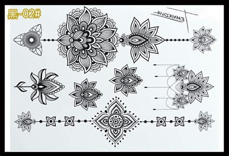 black lace henna temporary flash tattoo sticker fashion