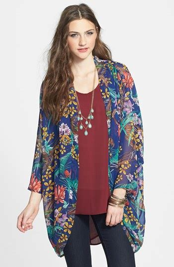 hot delicious floral chiffon kimono jacket
