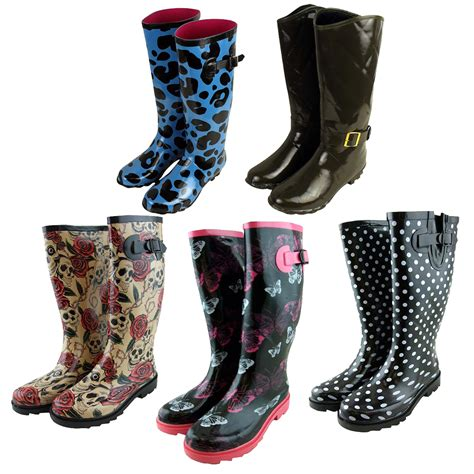 womens wellington boots printed snow winter wellies