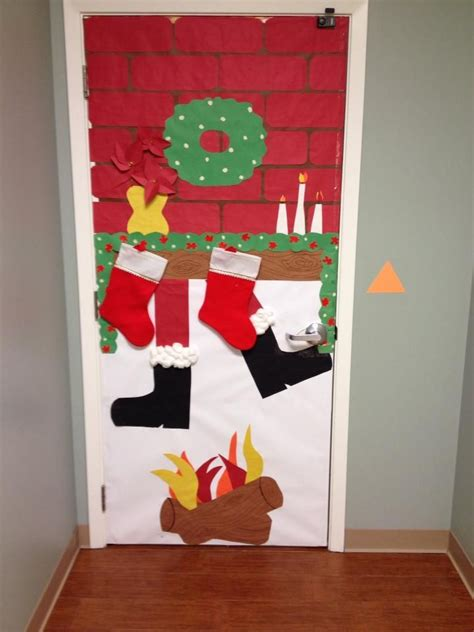 how to decorate doors and chimeny for christmas santa chimney door d 233 cor autism puzzle pieces winter crafts decor