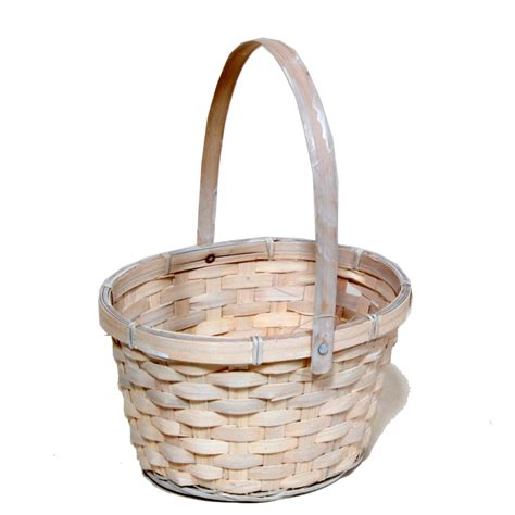 washed white swing handle oval bamboo basket  lucky