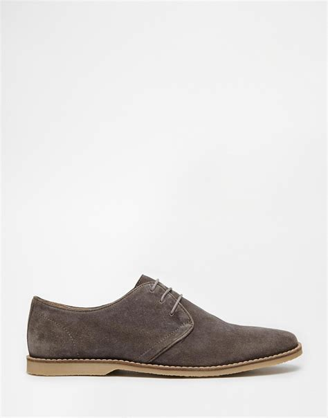 trend classic suede derby grey asos derby shoes in suede with piped edging in gray for lyst