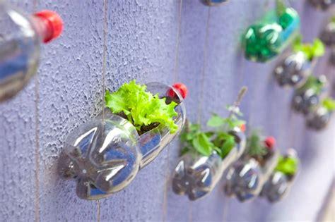 Spunky Urban Wall Garden Created From Recycled Plastic Soda Bottle Garden Wall