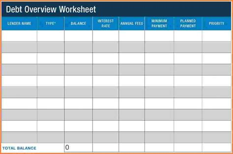 debt sheet template 12 credit card debt payoff spreadsheet excel