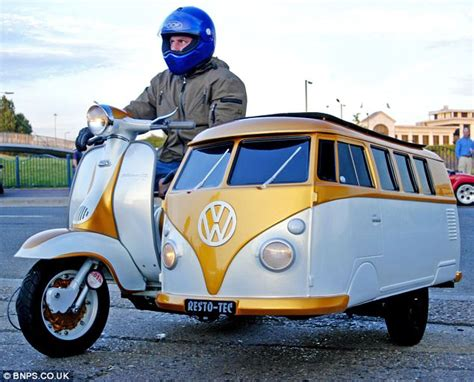 scooter mad dad builds van tastic vw camper sidecar to
