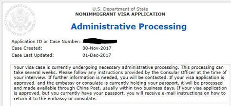 administrative processing a black for visa