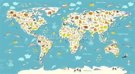 Animal Map Wallpaper Mural Map - animals world map wallpaper wall mural wallsauce new zealand