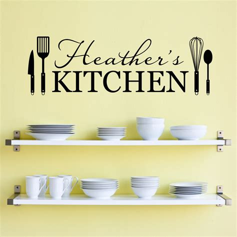 personal wall stickers personalized name kitchen wall decal kitchen utensils wall