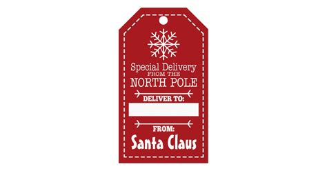 printable gift tags from the north pole special delivery from north pole and santa claus gift tags