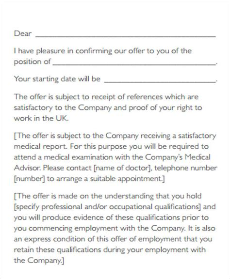 Offer Letter Sle For Contract Employee contract of employment letter uk 28 images 10
