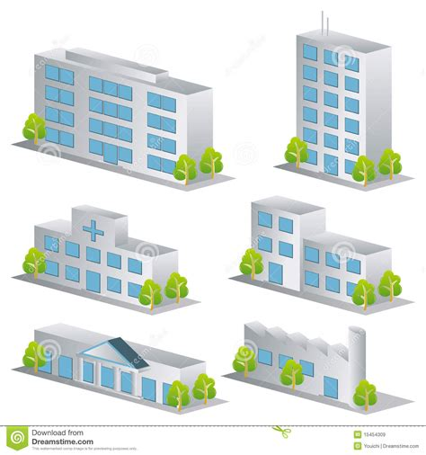Free Download Residential Building Plans by 3d Building Icons Set Stock Vector Illustration Of