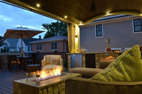 Veranda Lighting Ideas by Arched Veranda On Roof Deck With Built In Bar Kegerator