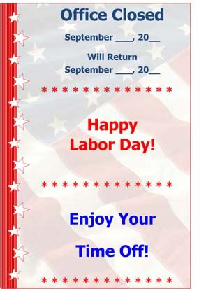 Labor Day Small Business Free Forms Closure Flyer Template