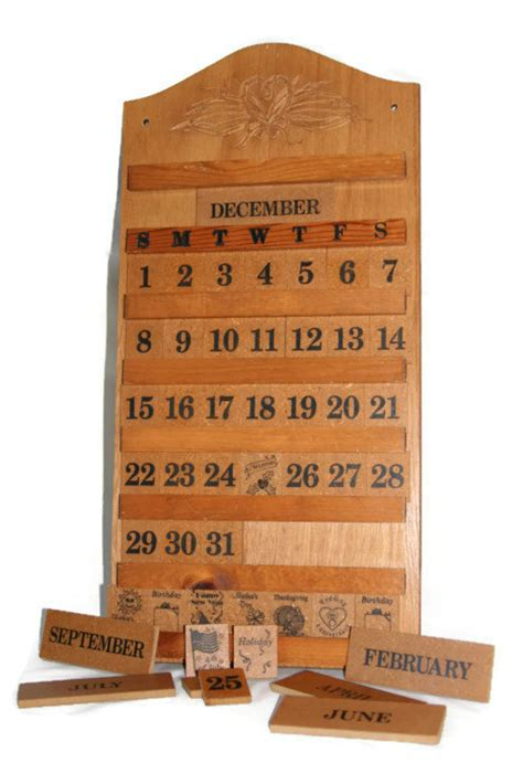 Calendar Wooden Perpetual Calendar Wooden Wall Calendar Vintage