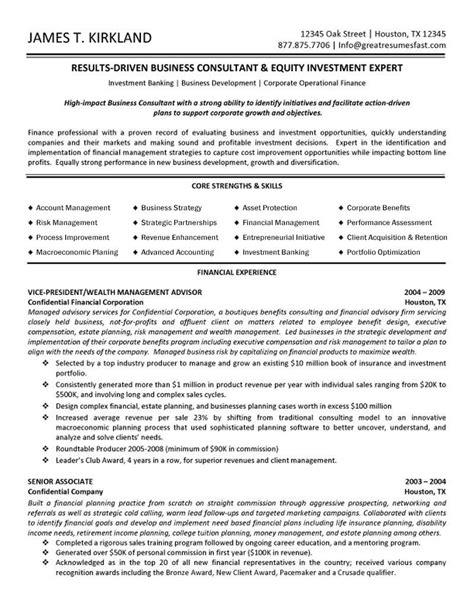 Business Consultant & Wealth Management Advisor Resume