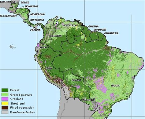 south america deforestation map map land use in america 2000