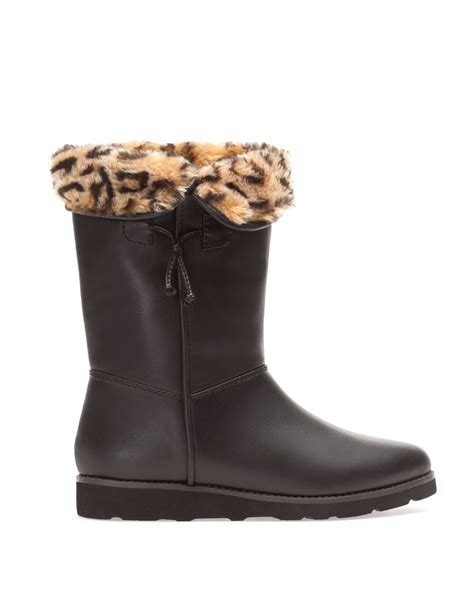 pull leopard print boots in brown black lyst