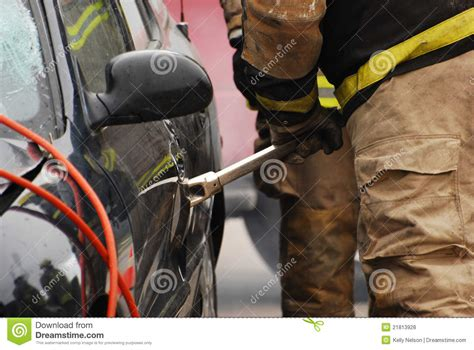 How To Pry A Door Open by Fireman With Pry Bar Stock Photo Image Of Fireman Wreck