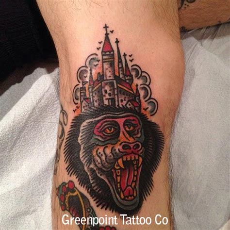 Tattoo Old School Quebec | tatouage old school singe et chateau inkage