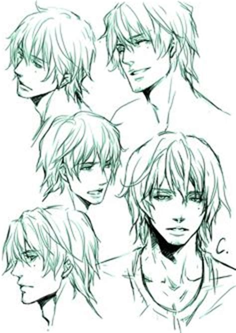 anime hairstyles guys tutorial manga boy different expressions from different angles