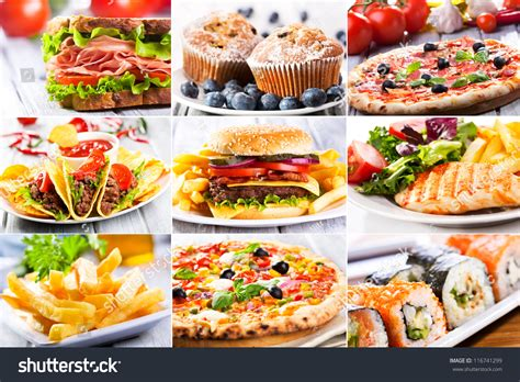 Collage Various Fast Food Products Stock Photo 116741299 Fast Food Collage